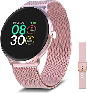 BRIBEJAT Smart Watch Pink with Stainless Steel Band for Women with Heart Rate Sleep Monitor...
