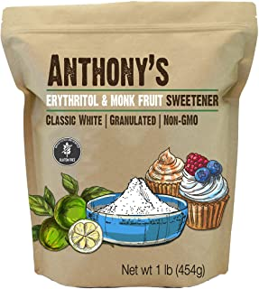 Anthony's Erythritol and Monk Fruit Sweetener Classic White, 1 lb, Granulated, 1 to 1 Sugar Substitute, Non GMO, Keto Frie...