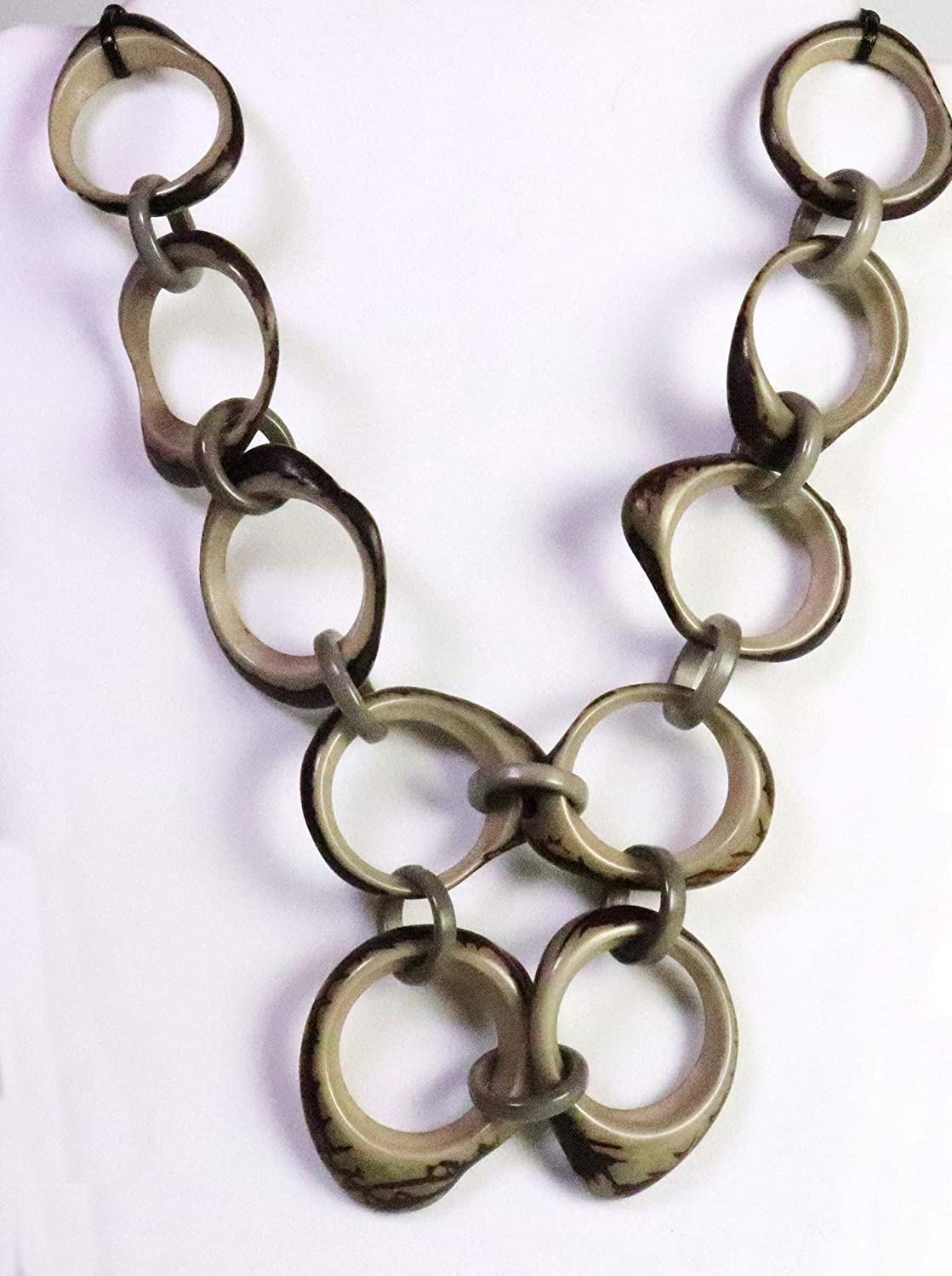 Gray Organic TAGUA Luxury goods New color Bib Necklace - Chained Strand Mid-Century Mo