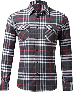 DOKKIA Men's Dress Buffalo Plaid Checkered Fitted Long Sleeve Flannel Shirts