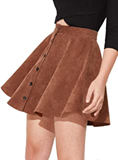 Women's Button Up Flare A-Line Corduroy Skater Cord Short Skirt
