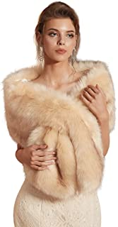 Ikerenwedding Women's Wedding Shawl Faux Fur Scarf Wraps for Evening/Party/Show