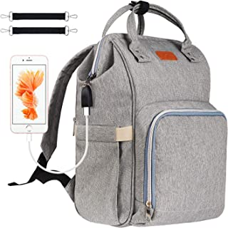 Diaper Bag Backpack, Covvy USB Charging Diaper Bag for Baby Boys/Girls, Waterproof Travel Maternity Baby Nappy Bag Back Pack for Mom/Dad with Insulated Pockets, Multi-Function, Large Capacity - Grey