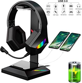 GLEENFIT RGB Gaming Headset Stand,7.1 Surround Sound Gaming Headset Holder with USB C and USB 3.0 Data Transmission&Charge...
