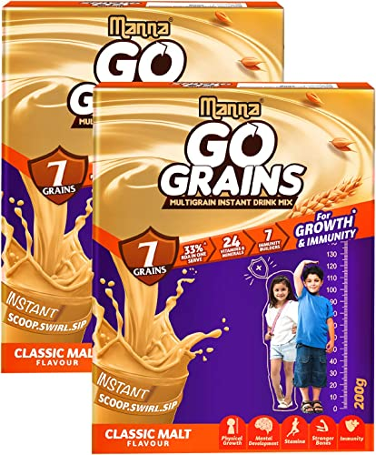 Manna Go Grains Malt 400g 200g x 2 Packs Health and Nutrition Multigrain Malted Drink for Growth Immunity High Protein 7 Immunity builders 24 Vitamins and Minerals for Growth