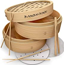 Bamboo Bimbi Chinese Steamer Basket - Traditional 10 Inch Bamboo Steamer Basket for Cooking Healthy Food in 2 Tiers Simult...