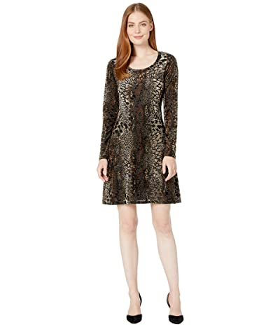 Karen Kane Velvet Burnout Dress (Brown) Women