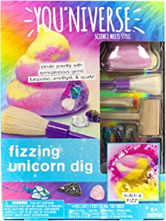 Youniverse Fizzing Unicorn Gemstones Dig Stem Science Kit by Horizon Group USA, Excavate, Dig & Reveal Colorful Gemstones for DIY Jewelry Making, Unicorn Poo Fizzing Dig, Turquoise, Amethyst & Quartz