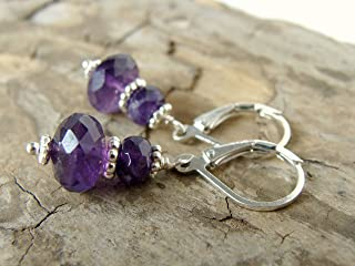 5364f884d Amethyst earrings, royal purple gemstones with sterling silver, lever back  wires, 1.25 inches