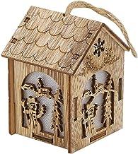 Enfeites de casa de madeira estilo pendurado com padrão inovador casa de natal decoração de natal decoração leve durável