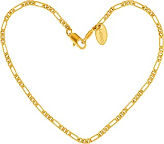 Lifetime Jewelry Anklets for Women Men and Teen Girls - 24k Real Gold Plated 2.5mm Figaro Chain Ankle Bracelet - Wear to Beach Wedding or Party - Cute Durable Bare Foot Anklet 9 10 11 inches Plus Size