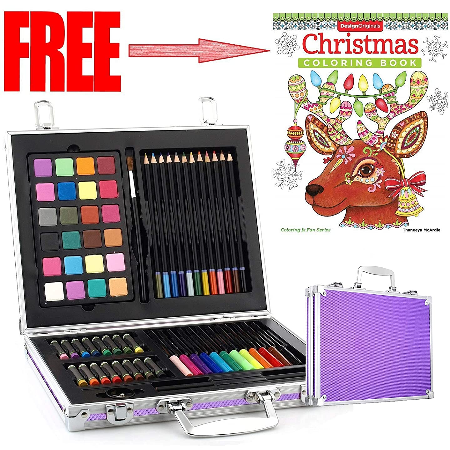 Gallery Studio - 69 Piece Deluxe Art Supplies Set in Purple Aluminum Case - (Quality Mediums Guaranteed)