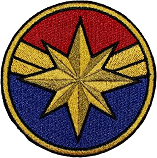 Captain Marvel Costume Patch Superhero Woman Embroidered Iron On Applique