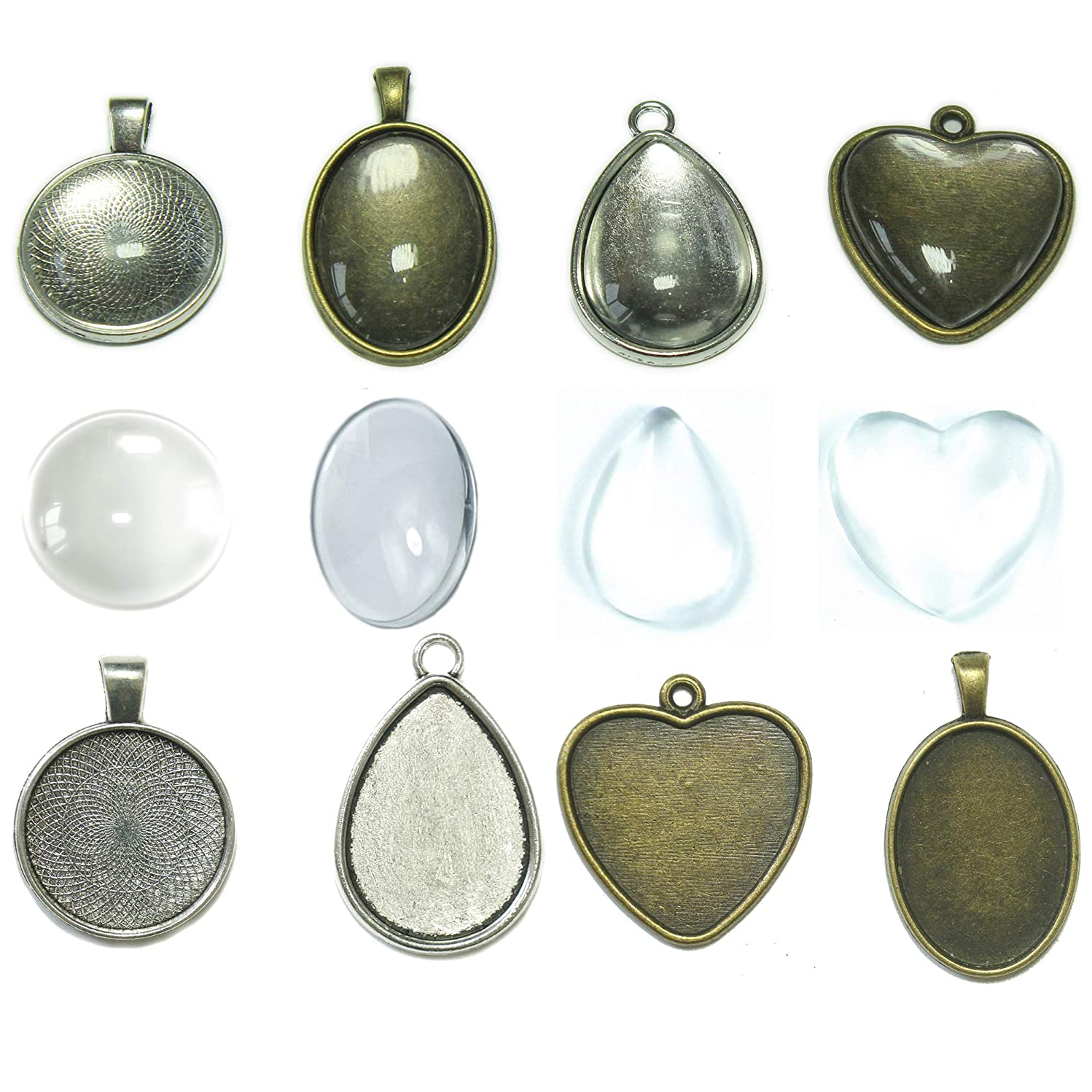 ALL in ONE Round + Oval + Heart + Teardrop Cabochon Set: 20pcs Cabochon Frame Tray Pendant with 20pcs Glass Dome for DIY Jewelry Making Jewelry Making DIY Findings (Antique Bronze & Silver)