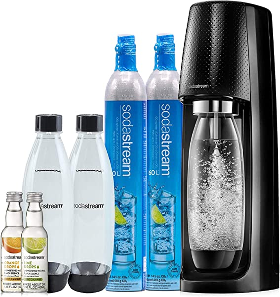 SodaStream Fizzi Sparkling Water Maker Bundle Black With CO2 BPA Free Bottles And 0 Calorie Fruit Drops Flavors