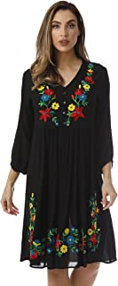 Floral Embroidered 3/4 Sleeve Button Front Empire Waist Dress