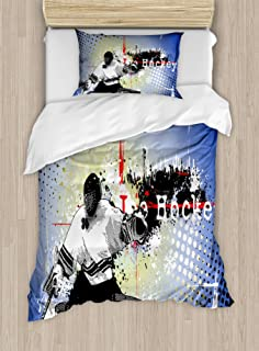 Ambesonne Hockey Duvet Cover Set, Retro Halftone Style Backdrop with Player Snowflakes and Cityscape Silhouette, Decorative 2 Piece Bedding Set with 1 Pillow Sham, Twin Size, Lavender Blue