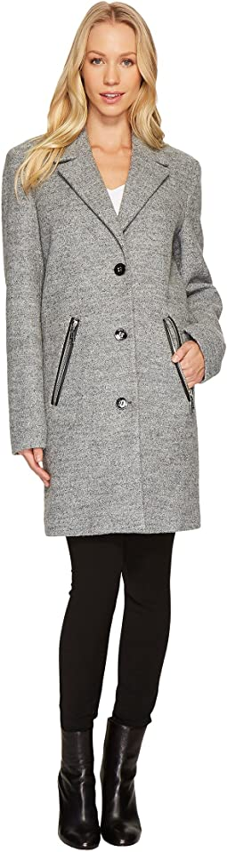 Calvin Klein - Wool Coat with Button Closure