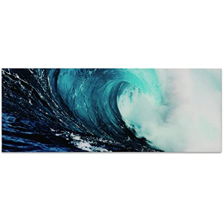 Amazon Com Empire Art Direct Blue Wave 2 Frameless Free Floating Tempered Glass Panel Graphic Teal Sea Wall Art 63 X 24 X 0 2 Ready To Hang Posters Prints