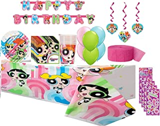 Powerpuff Girls Birthday Party Supplies Bundle for 16 includes Lunch Plates, Napkins, Cups, Table Cover, Birthday Banner, Hanging Swirl Decorations, Streamer, Balloons, Stickers