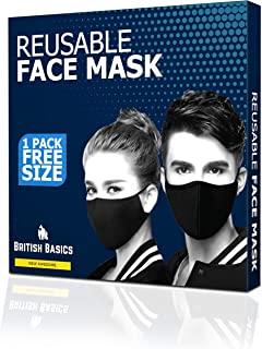 BB- BRITISH BASICS Branded Reusable Cotton Cloth Face Mask. Unisex Washable mouth cover for Men Woman. Anti Dust for Cycling, Walking, Travel - Free Size - Black- 1 Pack قناع الوجه القماش