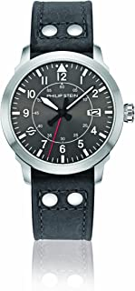 Philip Stein Men's Sky Finder Stainless Steel Japanese-Quartz Watch with Leather Strap, Grey, 21 (Model: 700-PLTDGR-CARG)
