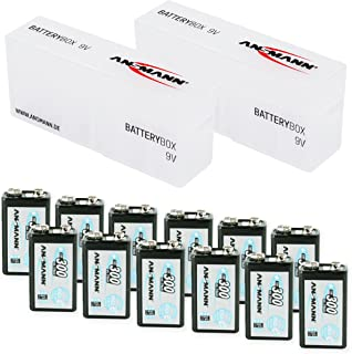 ANSMANN Rechargeable 9V Battery 300mAh pre-Charged Low Self Discharge 9Volt NiMH Rechargeable Battery (12-Pack) + 2X Batterybox for 9V