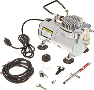1/5 HP 58 PSI Oilless Airbrush Compressor Kit with Quite Chrome Plated Airbrush, Hose and Storage Case