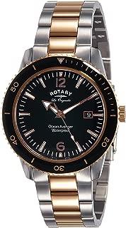 Rotary Watches Ocean Avenger Men's Black Dial Stainless Steel Bracelet Quartz Watch GB90096/04