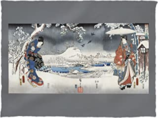 Lantern Press A Modern Version of The Tale of Genji in Snow Scenes - Japanese Wood-Cut Print 21680 (60x80 Poly Fleece Thick Plush Blanket)