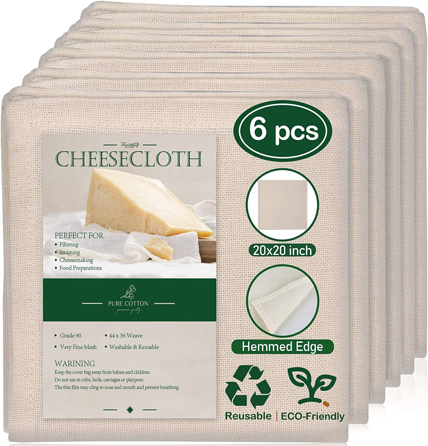 6 Pack 20x20 Inch Max 44% ! Super beauty product restock quality top! OFF Grade 90 C Cheesecloth Hemmed Unbleached 100%