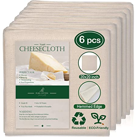 6 Pack 20x20 Inch Hemmed Cheesecloth, 100% Unbleached Cotton Fabric Ultra Fine Reusable Muslin Cloth for Straining, Cooking, Baking, Home
