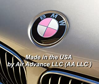 Breast Cancer Awareness - Gloss pink vinyl BMW emblem and ribbon decals - Fits almost all BMWs