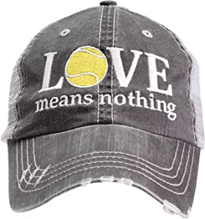 Tennis Addiction - Love Means Nothing - Fun Tennis Distressed Trucker Hat Black