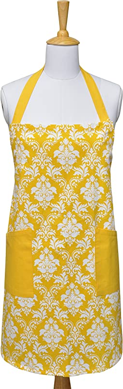 Kitchen Apron Yellow 100 Cotton Printed Damask Kitchen Apron Of Size 29X37 5 Inch Adjustable Neck Strap Front Pockets Premium Quality Fine Yarn PERFECT FOR COOKING