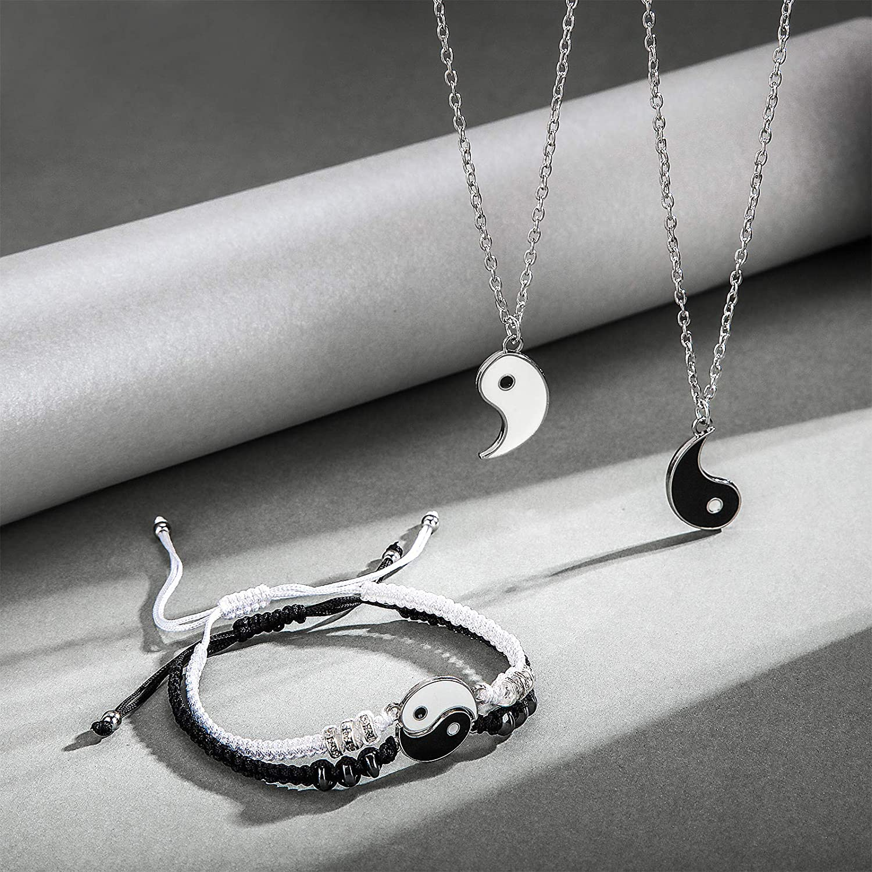 2 Pieces Yin Yang Couple Pendant Necklace Chain for Friendship Boyfriend Girlfriend 2 Pieces Matching Yin Yang Adjustable Cord Bracelet Hicarer Yin Yang Friend or Couple Bracelet with Necklace Set