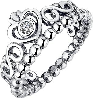Fashion 925 Sterling Silver Crown Princess Diamond Ring Romantic Lovers Ring
