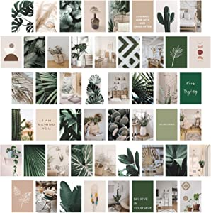 Wall Collage Kit Aesthetic Pictures, 50 Pcs Boho Decor Room Decor Wall Decorationsfor LivingRoom Bedroom for Teen Girls,Wall Art Plants Photo Collage Kit for Wall Aesthetic(4x6 inch)
