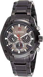Naviforce Men's Black Dial Stainless Steel Analogue Classic Watch - NF9113-BBB