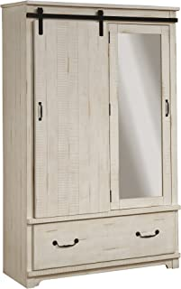 Martin Svensson Home Coastal Farmhouse Solid Wood Armoire with Sliding Barn Door, Antique White