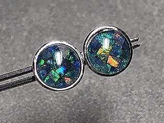 8mm Opal Mosaic Triplet and Sterling Silver Post Earrings