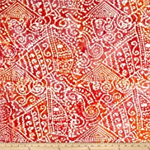 Textile Creations 0456374 Indian Batik Crinkle Cotton Print Ethnic Patchwork Orange/Pink Fabric by the Yard