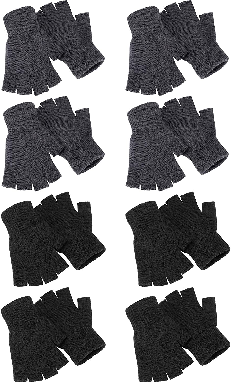 8 Pairs Winter Half Finger Gloves Warm Fingerless Knitted Gloves Stretchy Mittens for Men Women
