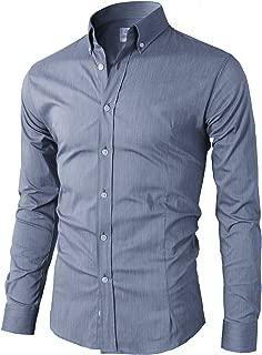 Mens Long Sleeve Basic Slim Fit Button Down Collared Dress Shirt Blue US M/Asia XL (KMTSTL0489)
