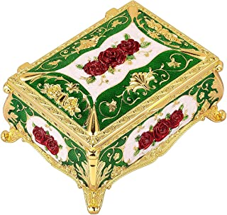 SUNYIK Women's Vintage Rose Flower Jewelry Trinket Box, Enameled Rectangle Two-Layers Decorative Collectible Organizer Storage Case, Green with Red Rose Flower