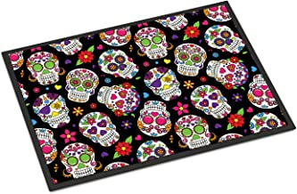 "Caroline's Treasures Day of The Dead Black Doormat 18"" H x 27"" W Multicolor, Multicolor, 18 x 27"