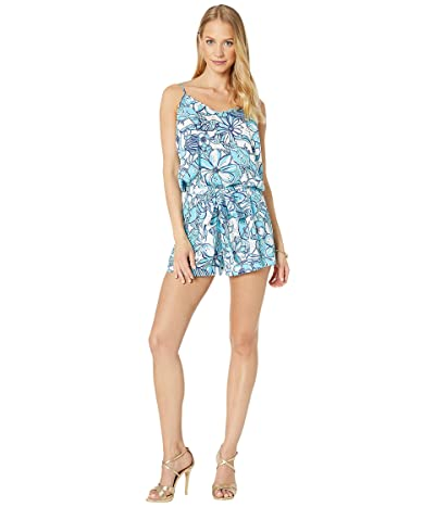 Lilly Pulitzer Deanna Romper (Succulent Blue Pop Up Coronado Crab) Women