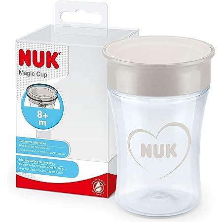 NUK Magic Cup vaso antiderrame bebé, Borde A Prueba De Derrames De 360°, +8Meses, Sin Bpa, 230Ml, Gris Y Blanco, 1Unidad