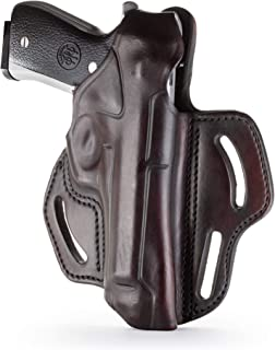 1791 - Beretta 92fs Thumb Break Holster - Right Handed OWB Leather Gun Holster - Fits Beretta 92FS, 90TWO, M9 / CZ 75,75b P07, P10, SP-01, P09 (BHX-4)