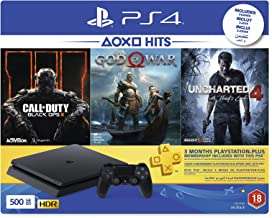 Sony Playstation 4 Slim 500GB | 3 Month PSN Subscription | 3 Games : Call Of Duty: Black Ops 3, God Of War & Uncharted 4 (PS4)